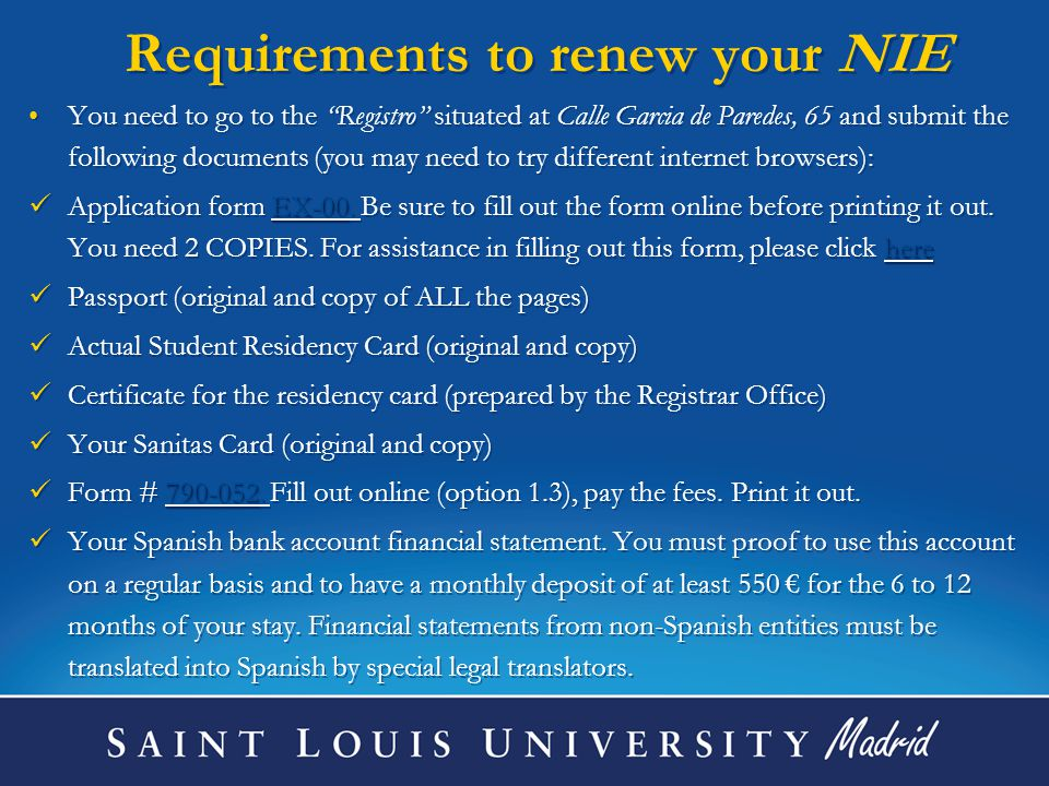 Requirements to renew your NIE