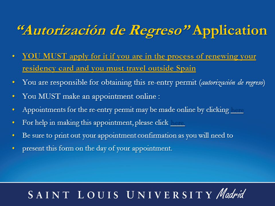 Autorización de Regreso Application