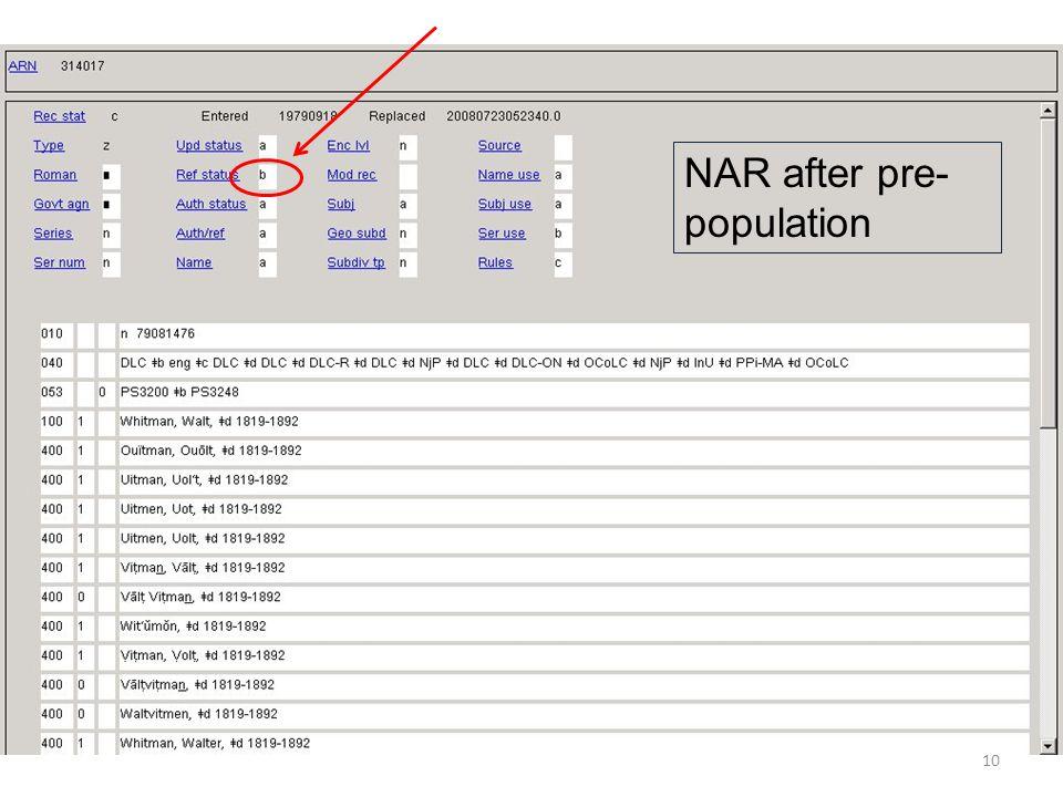 NAR after pre-population