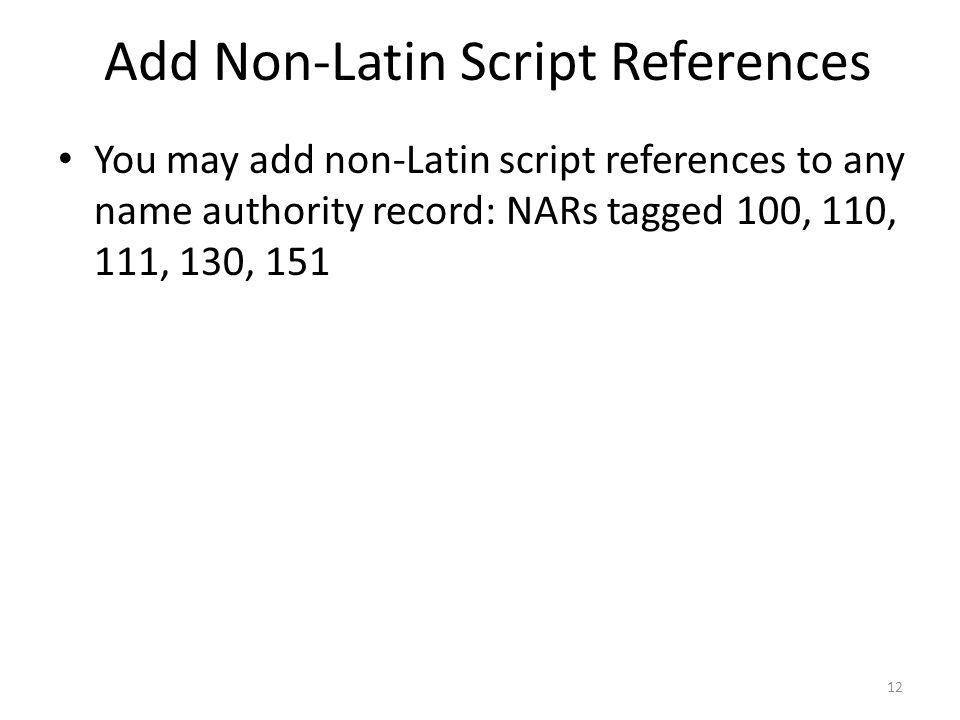 Add Non-Latin Script References