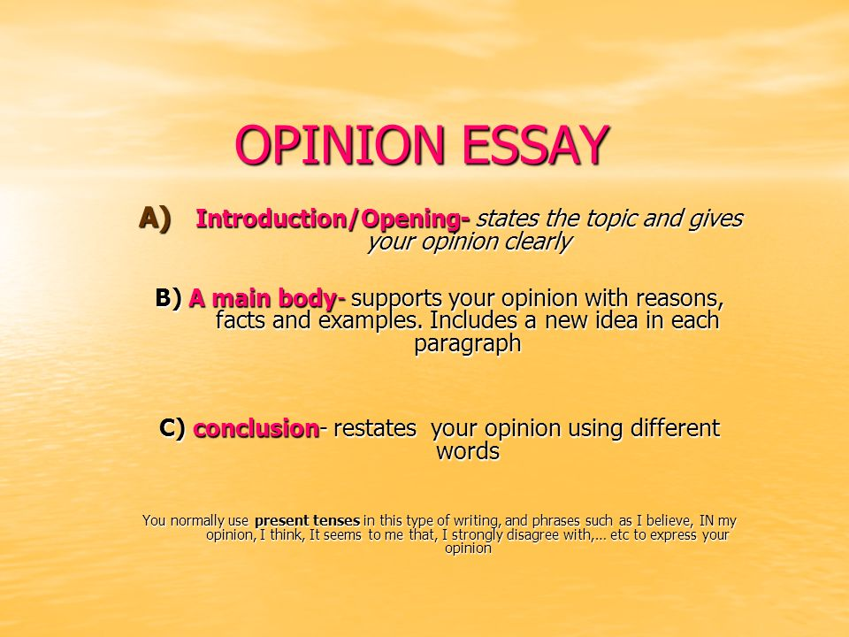 OPINION ESSAY Introduction/Opening- states the topic and gives your opinion clearly.