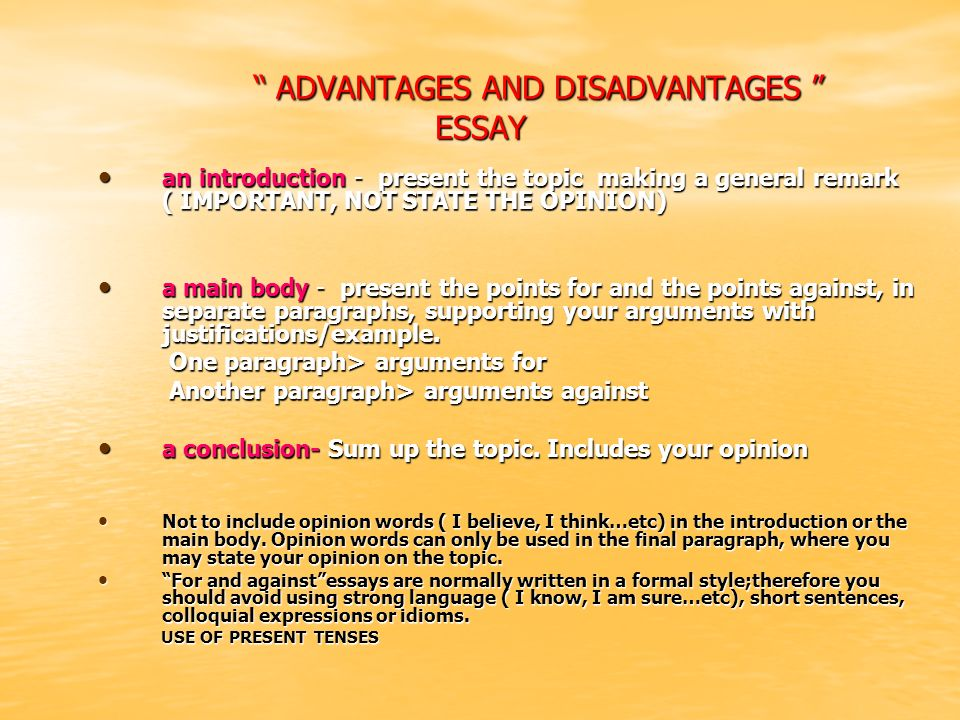 ADVANTAGES AND DISADVANTAGES ESSAY
