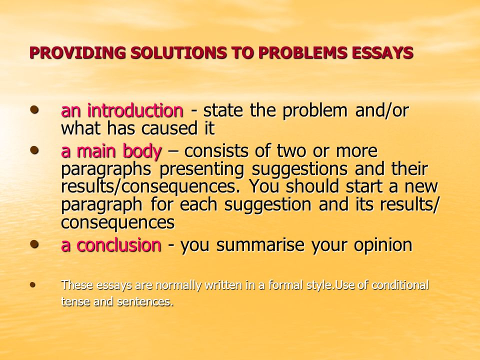 problems and solutions essays Solutions for a better environment  october 16, 2009  there are many solutions for what we could do  this shows two of the many problems that has changed our environment today and.