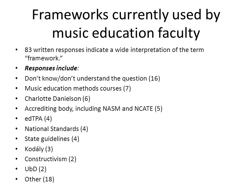 Frameworks currently used by music education faculty