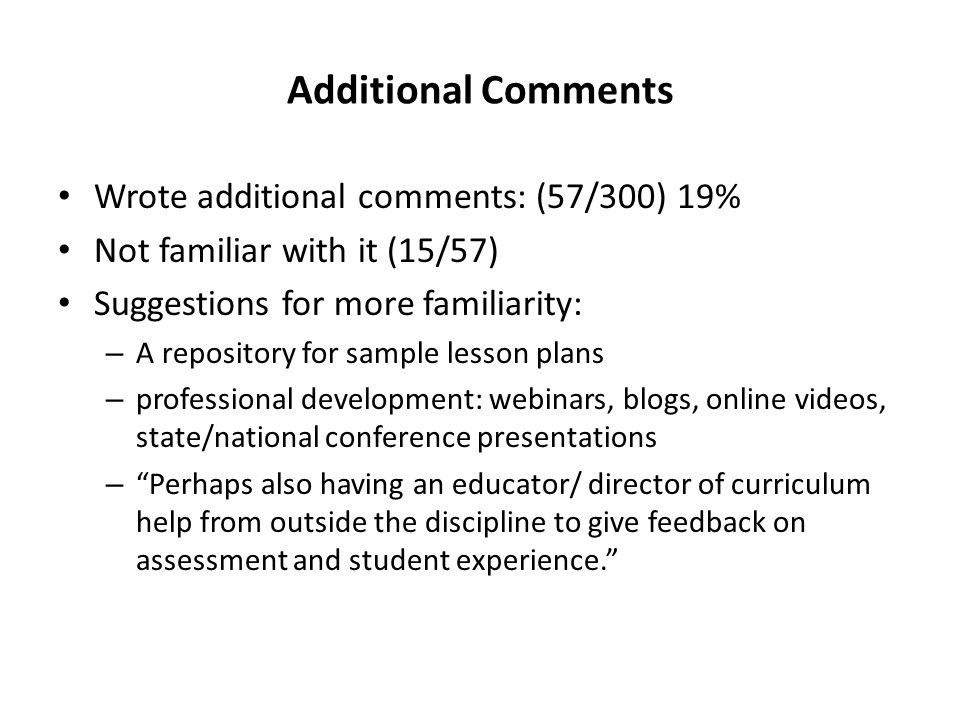 Additional Comments Wrote additional comments: (57/300) 19%