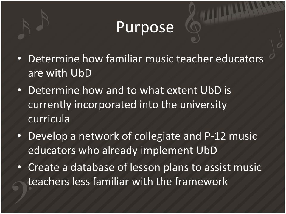 Purpose Determine how familiar music teacher educators are with UbD