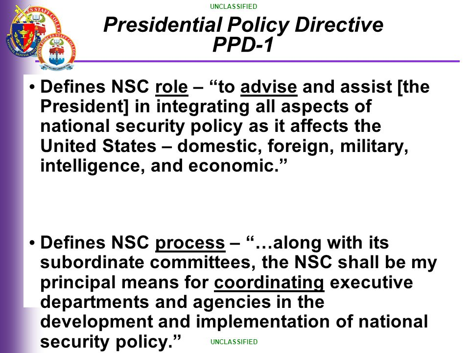 Presidential Policy Directive PPD-1