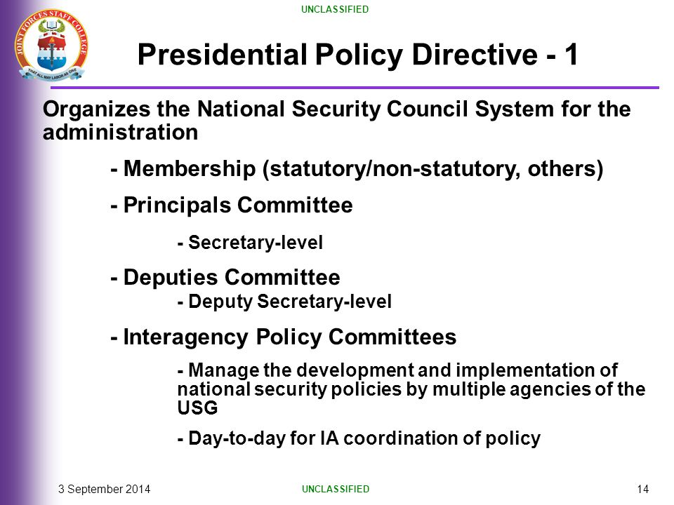 Presidential Policy Directive - 1