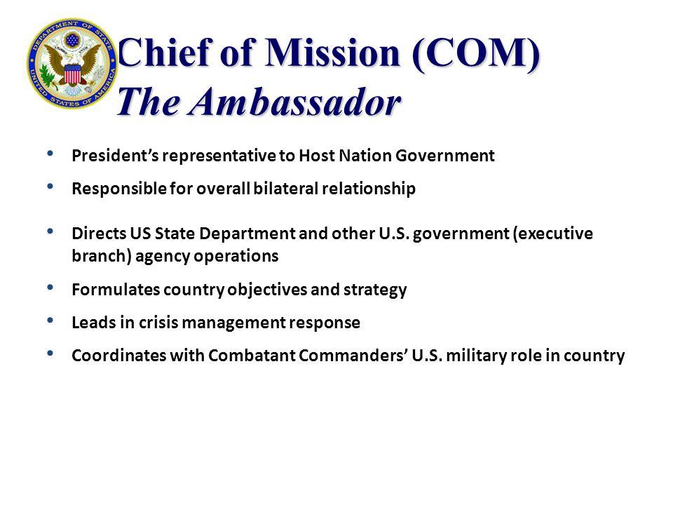 Chief of Mission (COM) The Ambassador