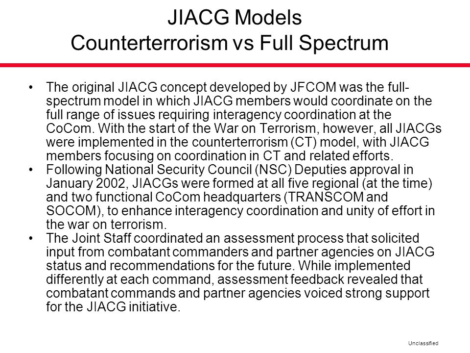 JIACG Models Counterterrorism vs Full Spectrum