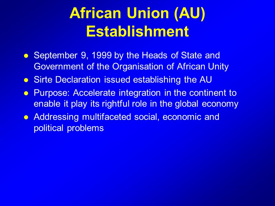 African Union (AU) Establishment