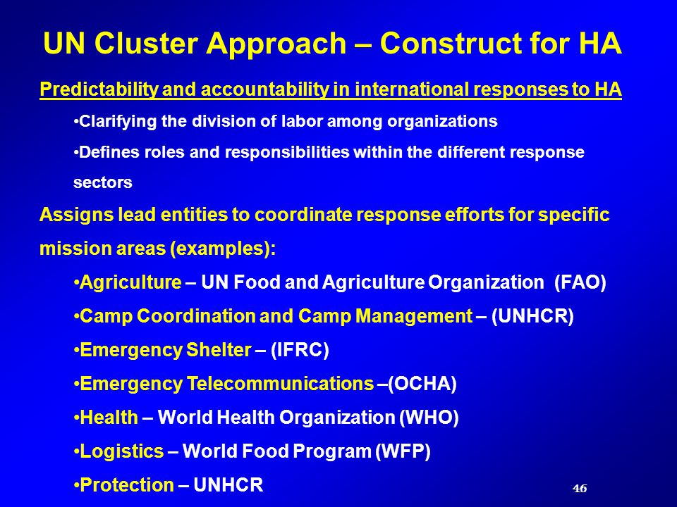 UN Cluster Approach – Construct for HA