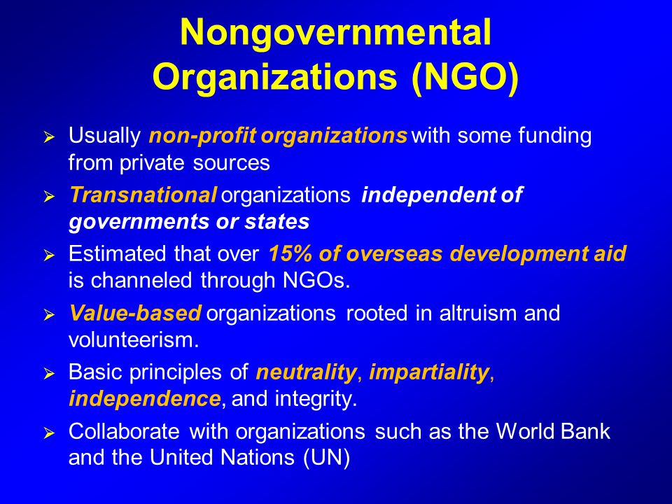 Nongovernmental Organizations (NGO)
