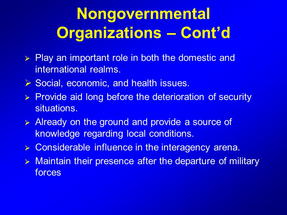 Nongovernmental Organizations – Cont'd