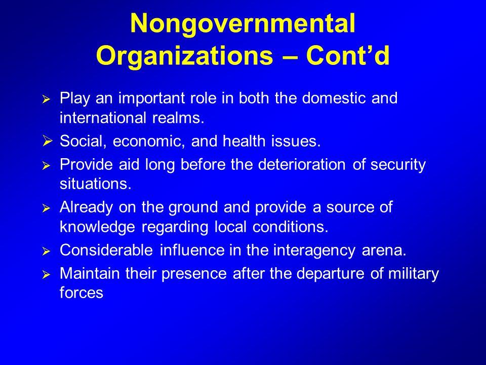 Nongovernmental Organizations – Cont'd
