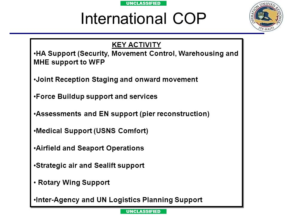 International COP KEY ACTIVITY