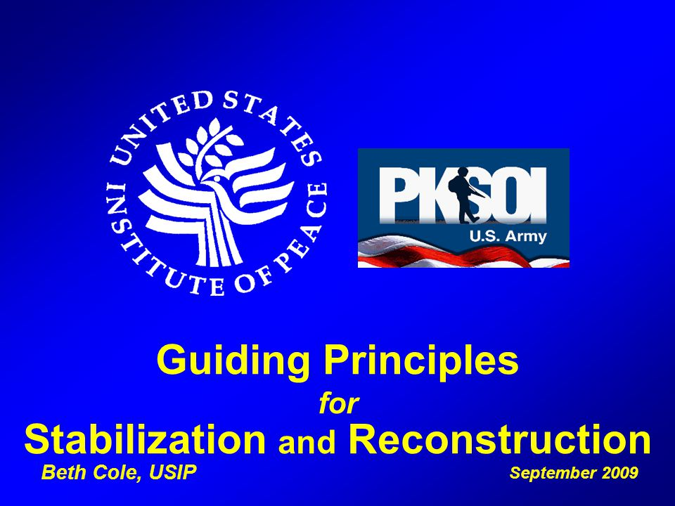 Guiding Principles for Stabilization and Reconstruction