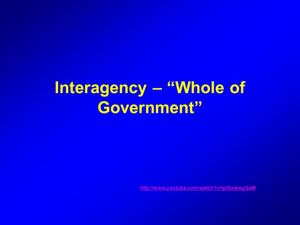 Interagency – Whole of Government