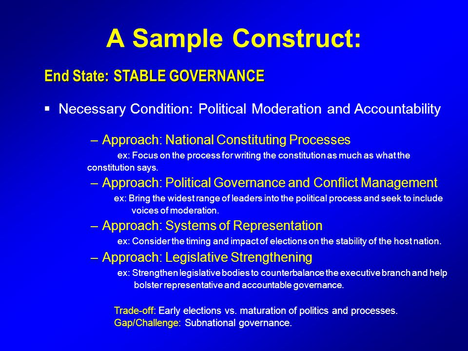 A Sample Construct: End State: STABLE GOVERNANCE