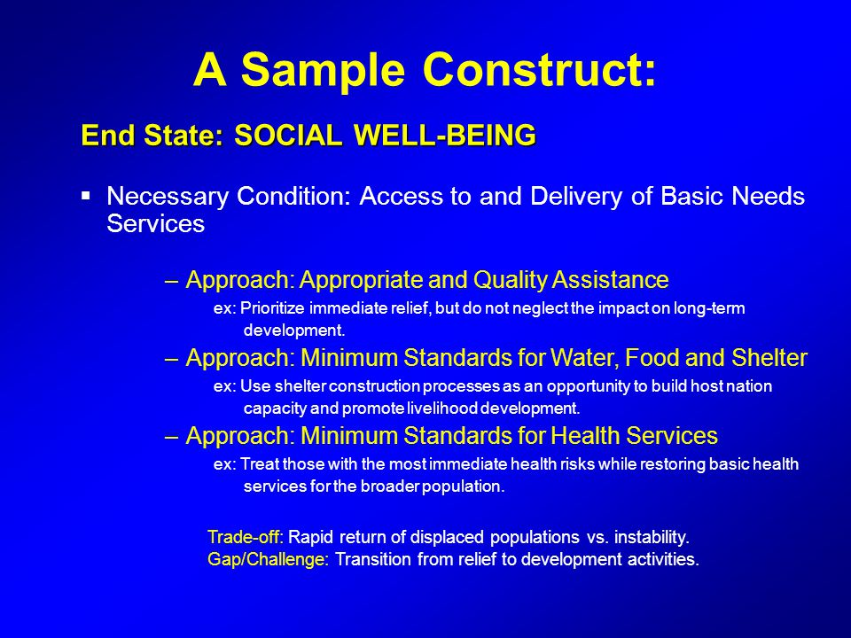A Sample Construct: End State: SOCIAL WELL-BEING