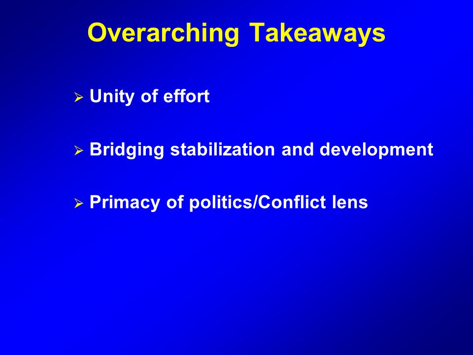 Overarching Takeaways