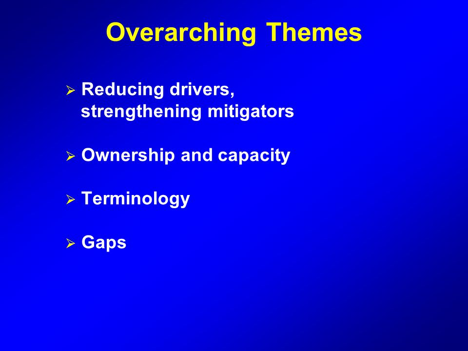 Overarching Themes Reducing drivers, strengthening mitigators