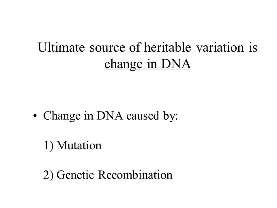 Ultimate source of heritable variation is change in DNA