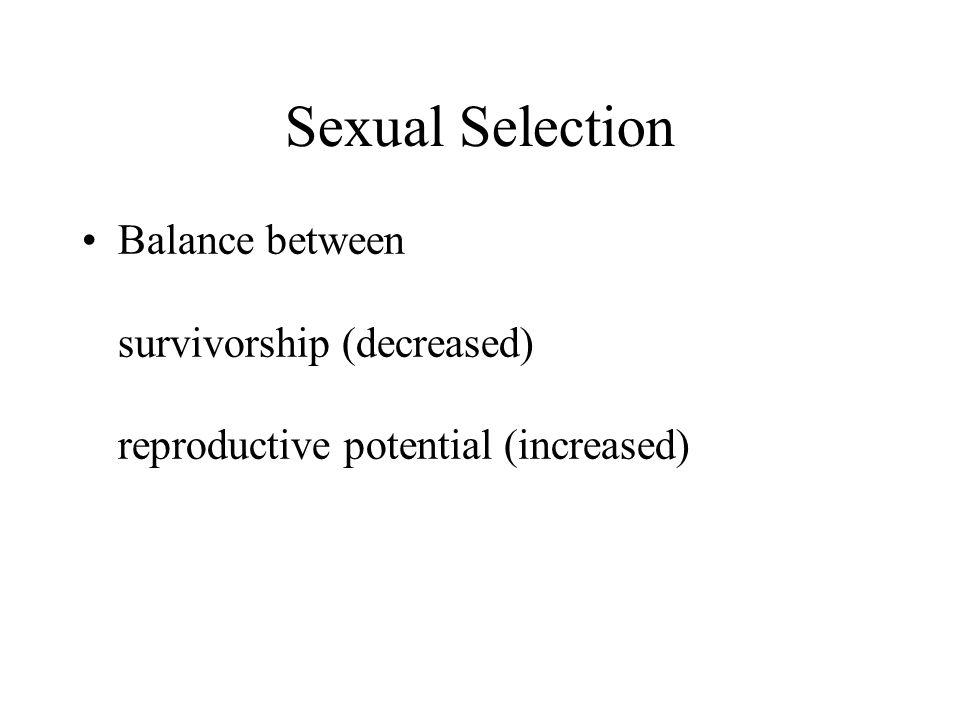Sexual Selection Balance between survivorship (decreased) reproductive potential (increased)