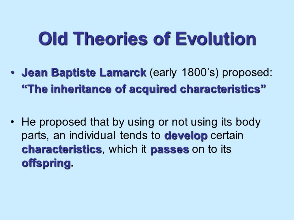 Old Theories of Evolution