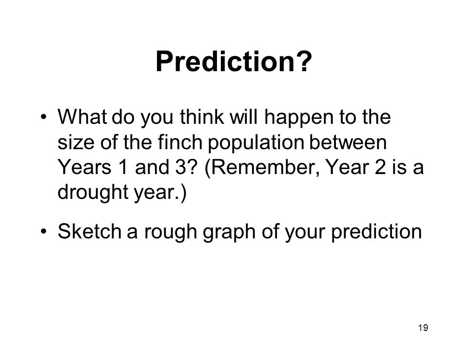 Prediction What do you think will happen to the size of the finch population between Years 1 and 3 (Remember, Year 2 is a drought year.)