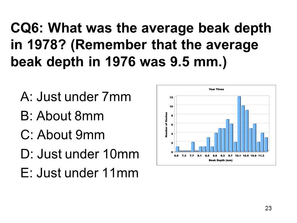 CQ6: What was the average beak depth in 1978