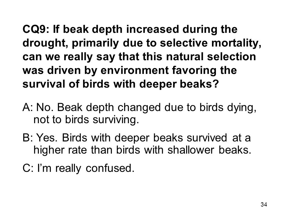 CQ9: If beak depth increased during the drought, primarily due to selective mortality, can we really say that this natural selection was driven by environment favoring the survival of birds with deeper beaks