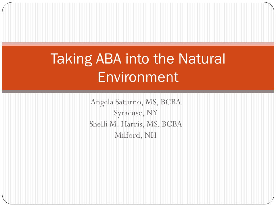 Taking ABA into the Natural Environment