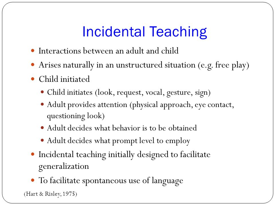 Incidental Teaching Interactions between an adult and child