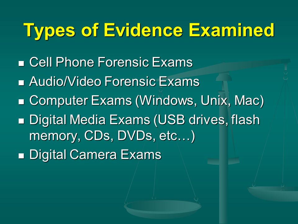 Types of Evidence Examined