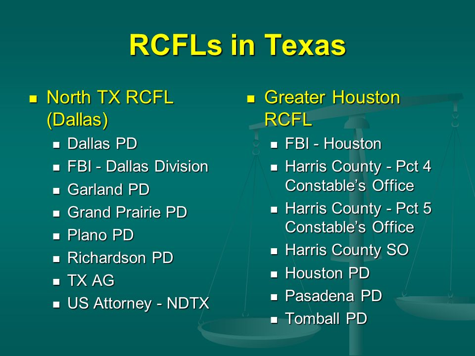 RCFLs in Texas North TX RCFL (Dallas) Greater Houston RCFL Dallas PD
