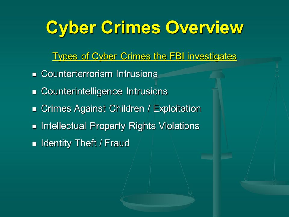Types of Cyber Crimes the FBI investigates