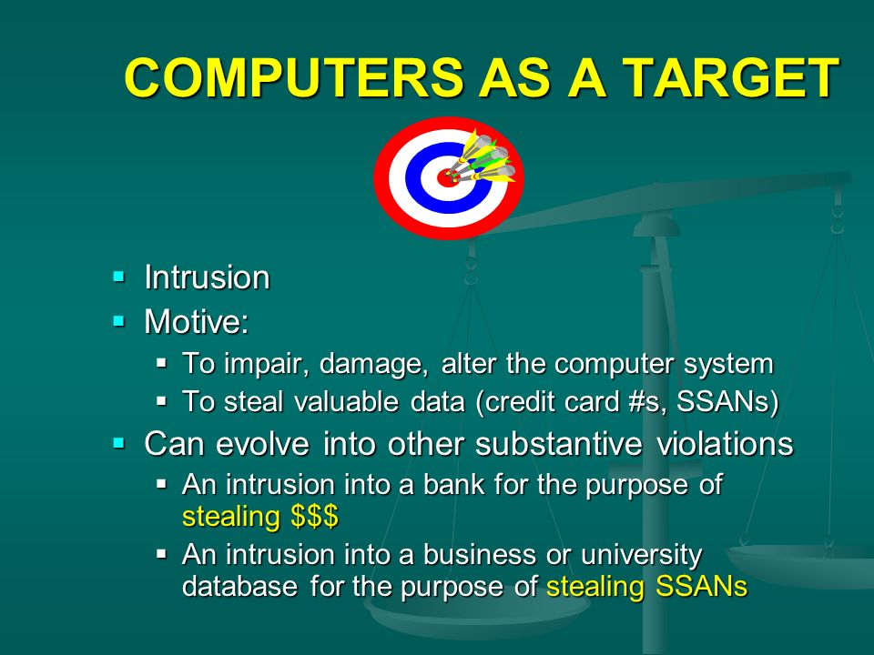 COMPUTERS AS A TARGET Intrusion Motive: