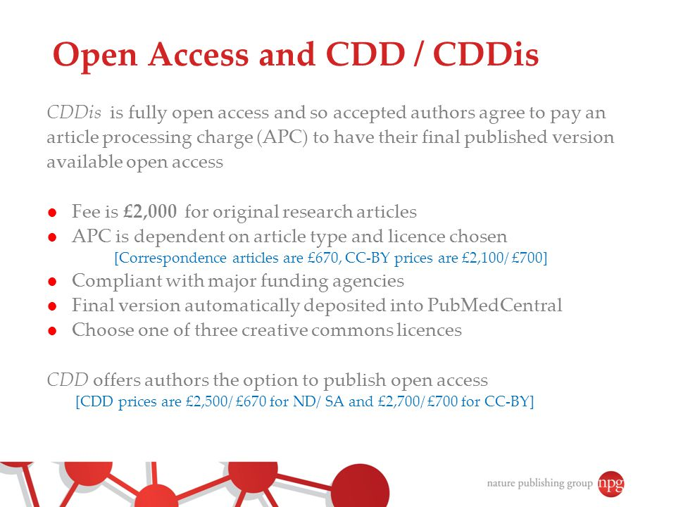 Open Access and CDD / CDDis
