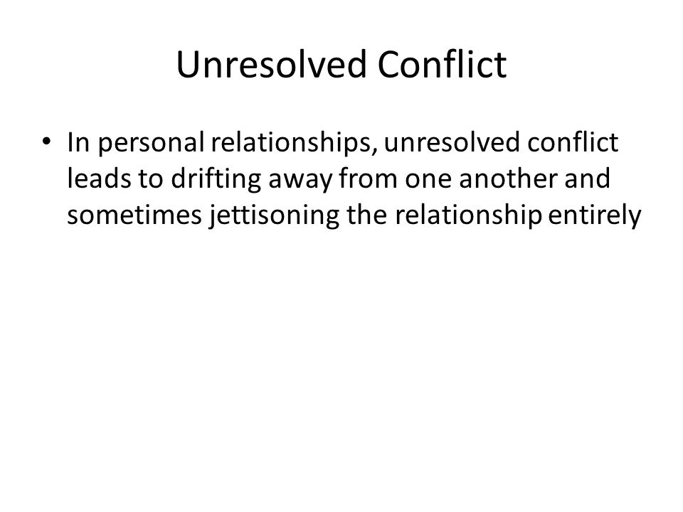Unresolved Conflict