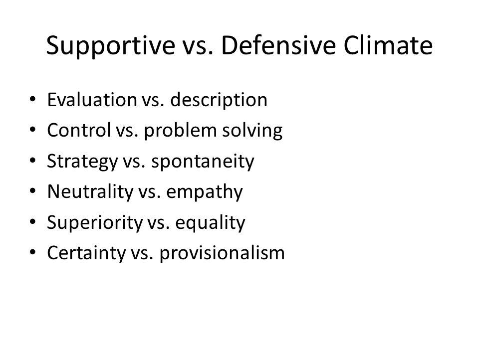 Supportive vs. Defensive Climate