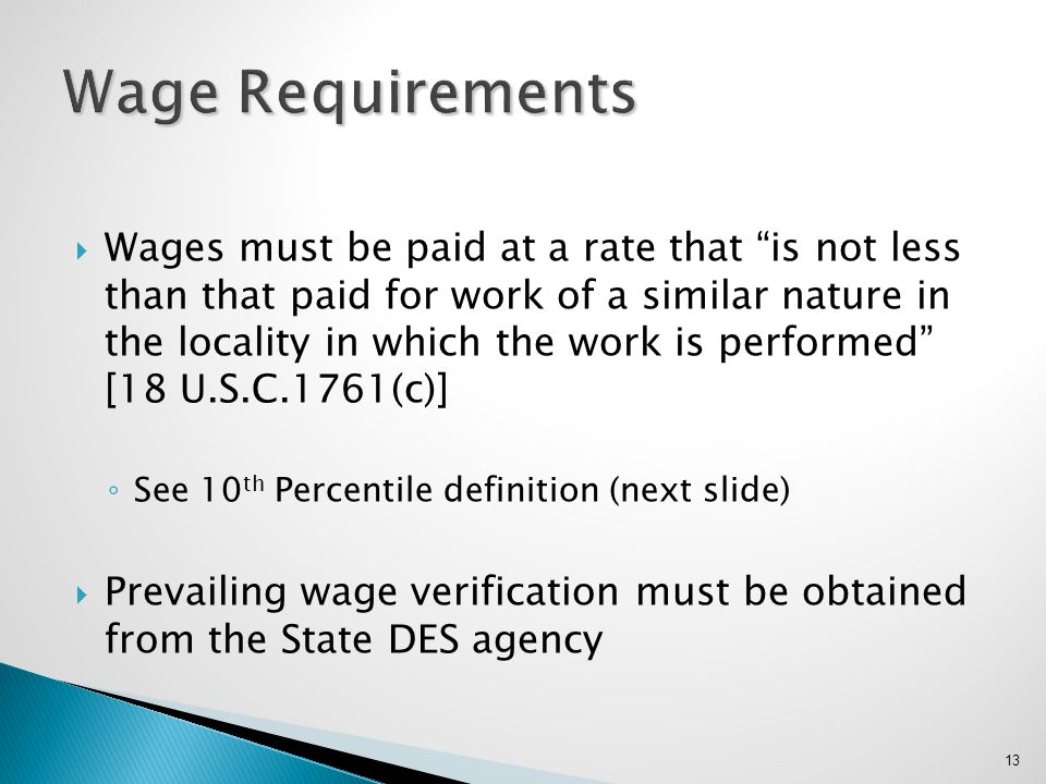 Wage Requirements
