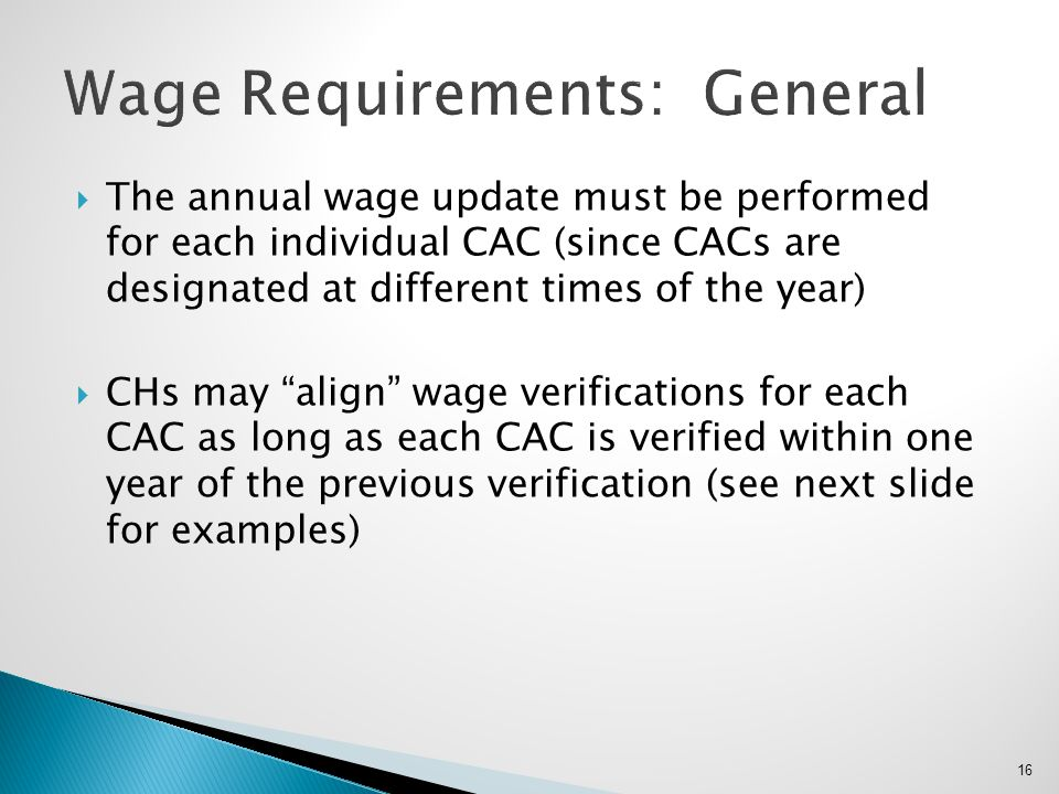Wage Requirements: General