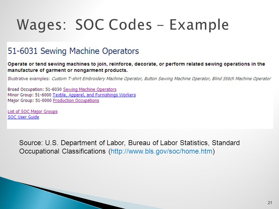 Wages: SOC Codes - Example