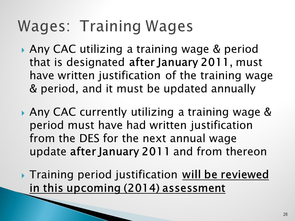 Wages: Training Wages