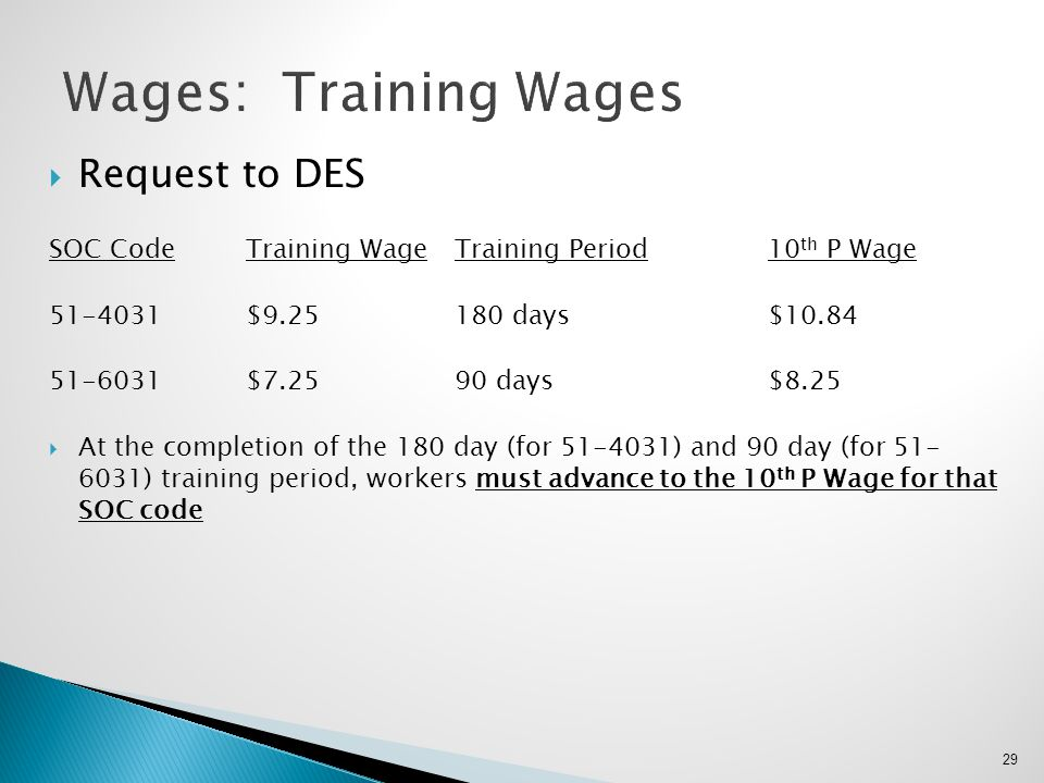 Wages: Training Wages Request to DES
