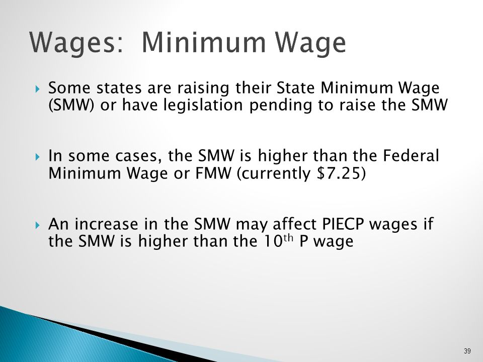 Wages: Minimum Wage Some states are raising their State Minimum Wage (SMW) or have legislation pending to raise the SMW.
