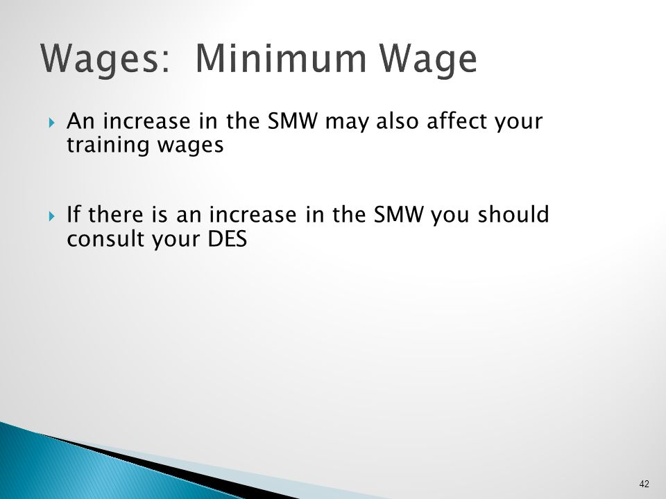 Wages: Minimum Wage An increase in the SMW may also affect your training wages.