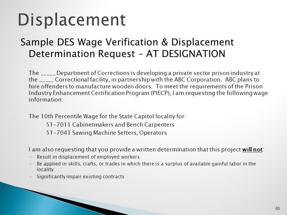 Displacement Sample DES Wage Verification & Displacement Determination Request – AT DESIGNATION.