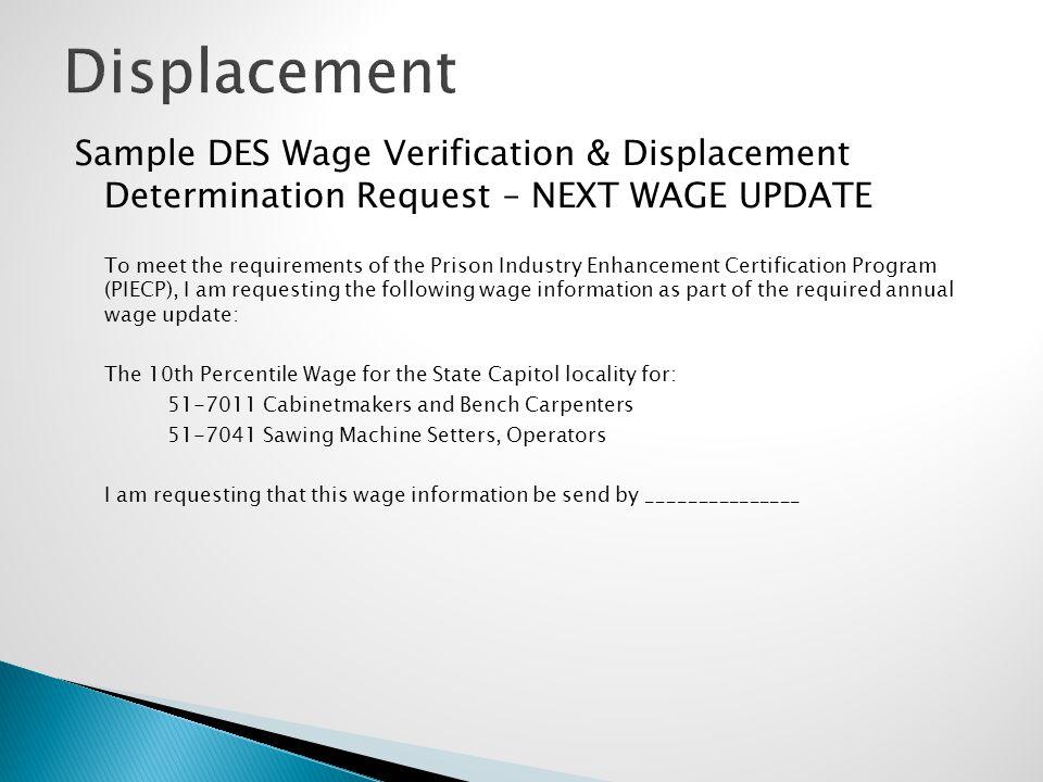 Displacement Sample DES Wage Verification & Displacement Determination Request – NEXT WAGE UPDATE.